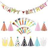 11 Cappellini Festa Compleanno 15 Trombette 1 Striscioni Compleanno Ghirlande Happy Birthday - 27 Pezzi di Decorazioni Forniture per Feste e Compleanni