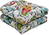 Pillow Perfect Outdoor/Indoor Alatriste Ivory Tufted Seat Cushions (Round Back), 19' x 19', Floral, 2 Count