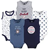 Hudson Baby Unisex Baby Cotton Sleeveless Bodysuits, Baseball, 6-9 Months
