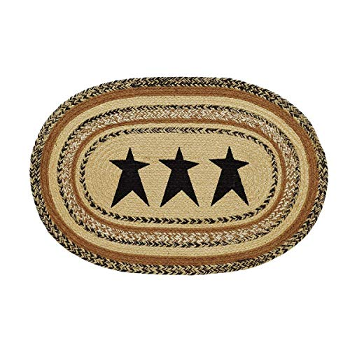 VHC Brands Kettle Grove Jute Stencil Star Oval Rug 20x30 Country Braided Flooring, Caramel Brown