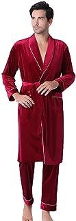 Redshop Mens Plush Inter Lengthened Shawl Bathrobe Long Sleeved Shawl Collar Kimono Bathrobe Robe