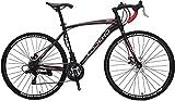 Road Bike for Men & Women 49CM Frame 21-Speed Shimano 700C Dual Disk Brake City Bike, Commuter Bike, Fitness Cycling (Black&red)