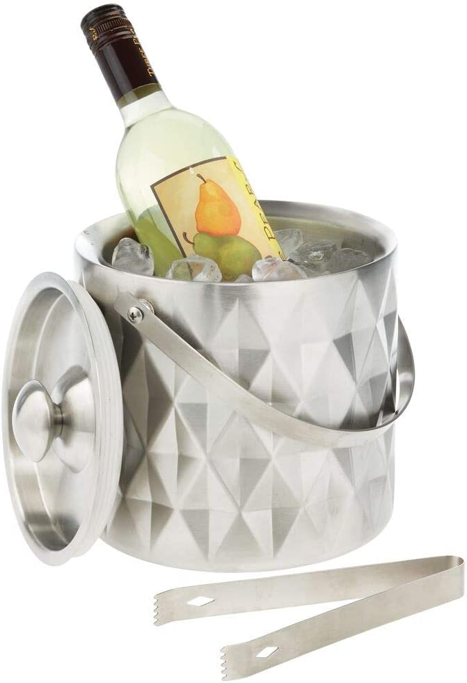 mDesign Modern Ice Safety and trust Bucket with Minneapolis Mall Lid - Double Wa Handle Tongs