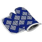 NZ - Juego de manoplas para horno, guantes aislantes y soporte para ollas, color blanco y azul marino