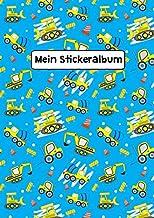 Mein Stickeralbum: Stickeralbum Blanko Baustelle Autos Stickerbuch Leer zum sammeln DIN A4 35 Seiten (German Edition)