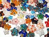 Millefiori - Juego de 30 perlas con diseño de manualidades, redondas, ovaladas, corazones, estrellas, monedas, cuadradas, mezcla de perlas de cristal multicolor, para enhebrar