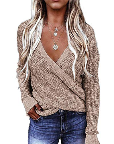 Damen Pullover Strickpullover Oberteile Pulli Sweatshirt Loose Langarmshirt Herbst Winter Langarm Sexy V-Ausschnitt Batwing Cross Front (3003-Khaki, L)