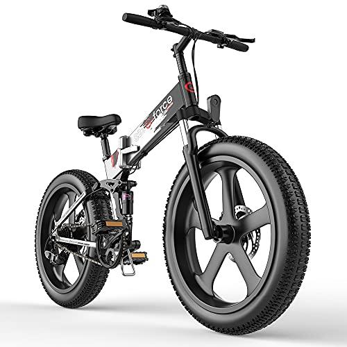 Folding Ebike for Adults 26' 4.0 Fat Tire Bike 25Mph Brushless Motor SHIMAMO 7 Speed Lithium Battery Mountain Bike … (S23-Silver)