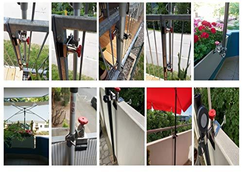 Holly Support de Parasol Rotatif à 360° en Acier Inoxydable pour Parasol jusqu'à Ø 38 mm – pour rampes Rondes – angulaires jusqu'à 65 mm de diamètre