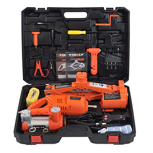 E-HEELP 12V DC 3.0T(6600lb) Fully Auto Electric Car Jack Tire Repair Tools Kit with Electric Impact Wrench and Tire Inflator for Car SUV Sedan Tire Changing