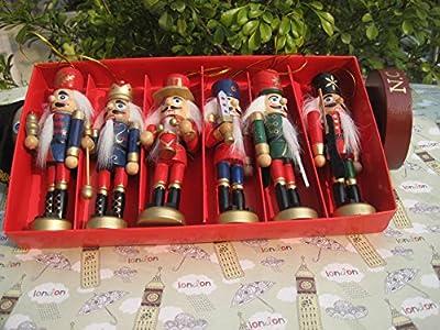 6 Wooden Handmade Traditional Nutcracker Christmas Tree Decorations