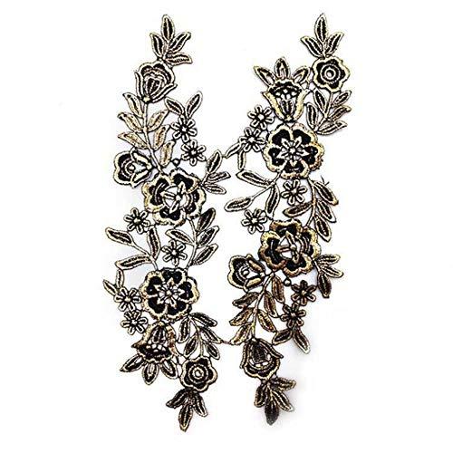 10 stks nieuwe collectie mooie zwart witte stof bloem hals kraag hot koop venise kant applique patch, ijzer goud