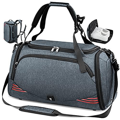 Sporttasche Reisetasche mit Schuhfach Groß 40L 65L Trainingstasche Gym Fitness Sport Tasche mit Rucksack-Funktion Handgepäck Weekender Bag Herren Damen - Grau-Blau