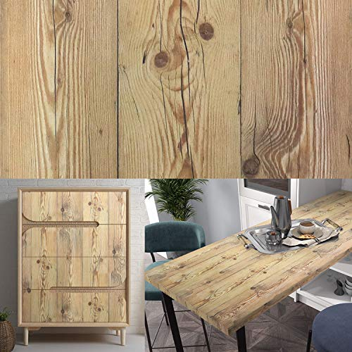 17.7'x197' Yellow Wood Grain Contact Paper Rustic Wood Peel and Stick Wallpaper Self Adhesive Vinyl Film Vintage Paper Removable Distressed Faux Wood Wallpaper Decorative Furniture Shelf Drawer Liner