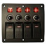 Panneau de commutateur étanche à l'eau protégé contre les surcharges d'indicateurs LED rouges, disjoncteur...