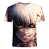 LHLYDFGG Camisetas de Moda Tokyo Ghoul Camiseta Hombres Sangre Camisetas Casual Estampado Anime Ropa Cosplay Camiseta Impresa-C_XXS