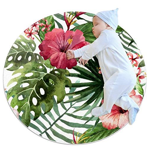 HDFGD Alfombra lavable niños círculo alfombra niños dormitorio círculo alfombra baño alfombra decorativo baño alfombra tropical blanco floral