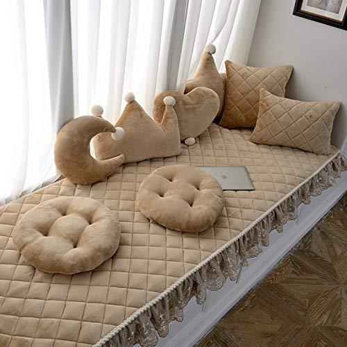 Creek Ywh balkontapijt voor ramen en vensterbank, minimalistisch, Europees tapijt, slaapkamertapijt, mat, zitkaart, 90 breedte + (15 punten) x 210 lang, geruit, kaki
