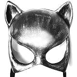 ALIXIN-Katze Halbe Gesichtsmaske,Frauen Mädchen Weiche Cat Eye Punk Maske für Kostüm Weihnachten...