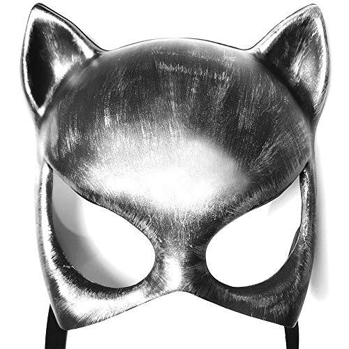 ALIXIN-Katze Halbe Gesichtsmaske,Frauen Mädchen Weiche Cat Eye Punk Maske für Kostüm Weihnachten Halloween Valentine Maskerade,Party Ball Prom Karneval Hochzeit Sexy Katzenohren Stirnband (Silber)