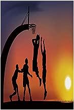 Polyester Garden Flag Outdoor Flag House Flag Banner,Teen Room Decor,Boys Playing Basketball at Sunset Horizon Sky Dramatic Scene Decorative,Dark Coral Black Yellow,for Wedding Anniversary Home Outdoo
