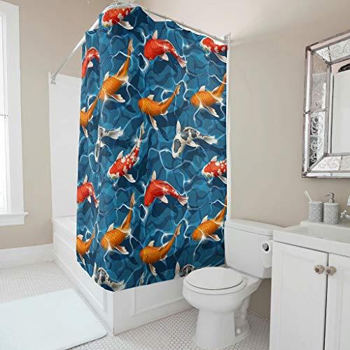 Sweet Luck Cortina de ducha japonesa Koi, antimoho, resistente al agua, lavable, tela de poliéster, cortina de ducha con gancho para bañera, color blanco, 150 x 180 cm