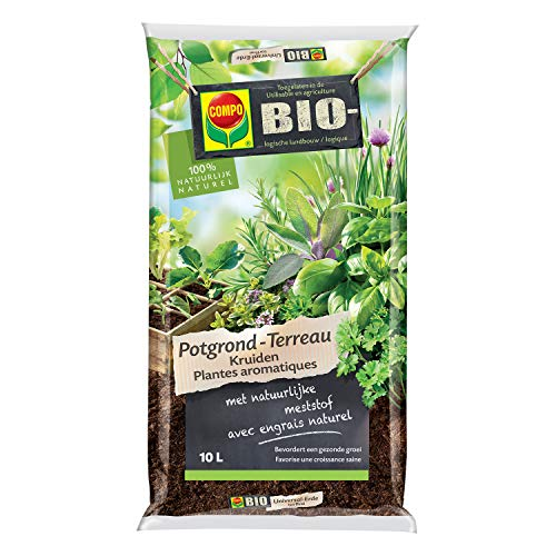 Compo 1062301017 Bio Potgrond Kruiden, met natuurlijke meststof, bevordert een gezonde groei, 100% natuurlijk, 10 l