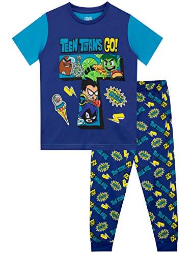 Teen Titans Go! Pigiama a Maniche Lunghe per Ragazzi Blu 8-9 Anni