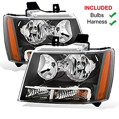 AmeriLite Headlights Set for 2007-2013 Chevy Tahoe Suburban Avalanche Driver and Passenger Side