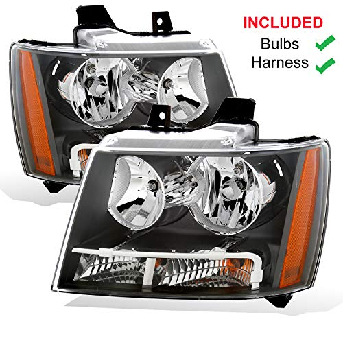 AmeriLite Black Replacement Headlights for Chevy Tahoe/Suburban/Avalanche (Pair) - Driver and Passenger Side
