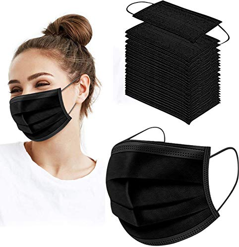 NNPCBT 50pack Disposable Black Face 3-ply Adjustable Earloop