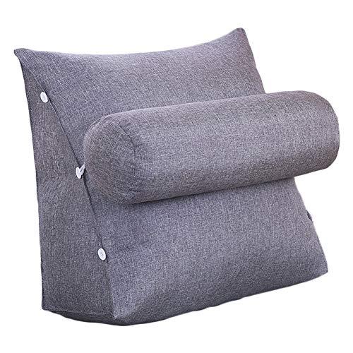 VERCART Kissen Rückenkissen Lesen Nackenrolle Hals für Sofa Bett Weiches Erwachsene Abnehmbar Baumwollleinen Grau 45x45x20cm