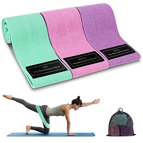 Cocoda Bandas Elasticas Musculacion, 3 Piezas Bandas Elásticas Fitness con 3 Niveles para Piernas/Glúteos/Muslos, Cadera Ancha Antideslizante Bandas Resistencia para Yoga,Pilates,Crossfit,Hogar,Gym