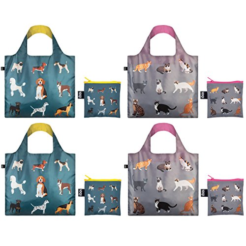 LOQI CO.CD Cats and Dogs Collection Pouch, Set of 4 Reusable Bags, Polyester, Multicolor