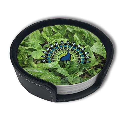 BJAMAJ Kale & Spinazie Plant Premium PU Lederen Coasters, Drink Ronde Coasters Met Houder Sets, Geschikt voor Thuis En Keuken (6PCS)