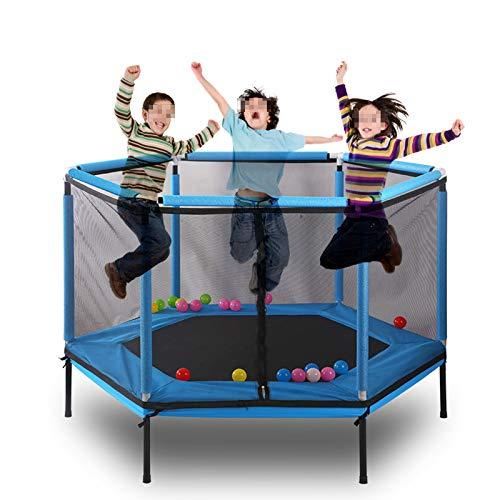 TWW Trampolín para Niños con Red De Seguridad, Juguetes Deportivos De Salto para Niños, Plegable, Fácil De Almacenar, Diseño Silencioso, Antidumping,Azul