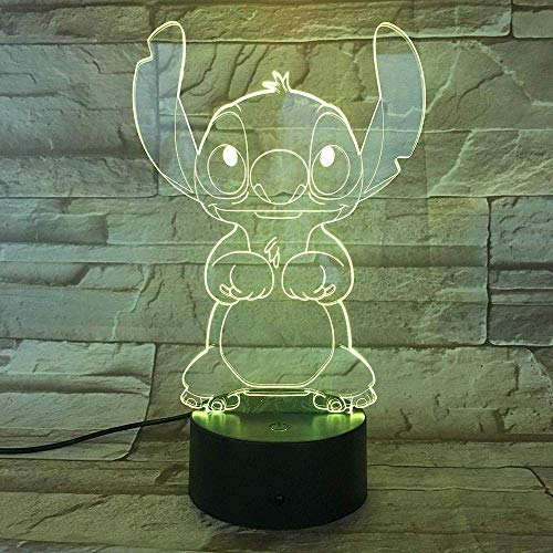 Lámpara Con 7 Colores Changinglamp Cartoon Stitch Night Light Led 3D Illusion Lámpara Decorativa Childdesk Lámpara Para NiñosDecoración Del Hogar