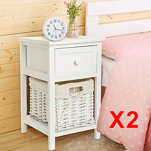Shoze Pair of Bedside Tables Units Shabby Chic White Drawers Cabinet Night Stand with Wicker Storage Basket Bedroom Furniture