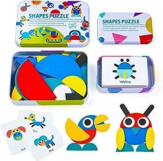 Tangram de Madera, Tangram Shape Puzzle Set Montessori Shapes Puzzle de Madera Tangram Puzzle de Madera Montessori Juguete...