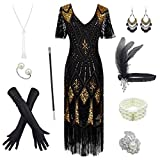 Women's 1920s Gatsby Inspired Sequin Beads Long Fringe Flapper Dress w/Accessories Set, Black&gold, XX-Large (Apparel)