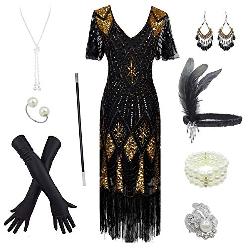 Women's 1920s Gatsby Inspired Sequin Beads Long Fringe Flapper Dress w/Accessories Set, Black&gold, XX-Large