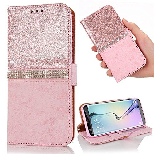 LAPOPNUT Coque pour Samsung Galaxy S7 Edge, Luxe Bling Glitter Paillettes Diamant Hybrid PU Cuir Housse Etui Fermeture Magnétique avec Fente pour Carte Coque Arrière pour Galaxy S7 Edge - Or Rose