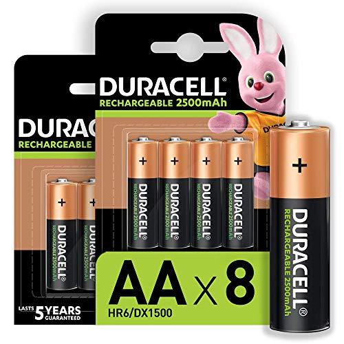 Duracell - Rechargeable AA 2500mAh Prericaricate, Batterie Stilo Ricaricabili 2500 mAh, confezione da 8