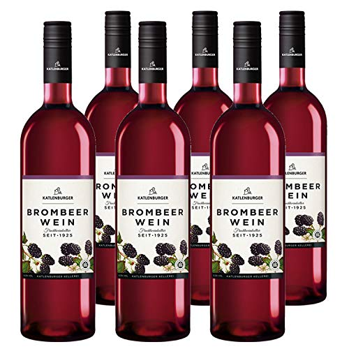 Katlenburger Fruchtwein Brombeere 6x 0,75l, reiner Fruchtwein, Beerenwein, lieblicher Obstwein mit reintöniger Brombeer-Note, vollmundig und aromatisch im Geschmack, 8,5% vol.