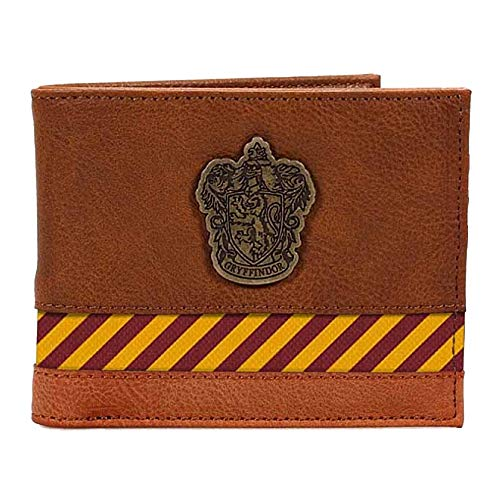Warner Bros. Auténtico Harry Potter Gryffindor Crest Bi-Fold Wallet en caja Hogwarts Marrón