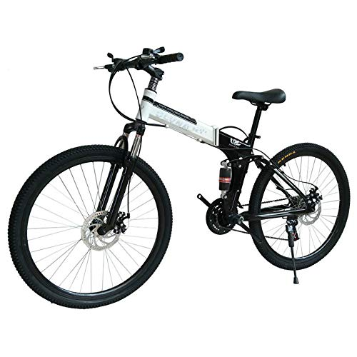 EMAIS 26in Folding Mountain Bike, Full Suspension Carbon Steel MTB Bikes with Dual Dsic Brakes, 21 Speed Mountain Trail Bike for Adults