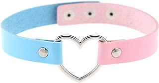 AKOAK Girls Love Heart Choker Double Color PU Leather Collar Punk Collar Choker Necklace Heart Goth Fans Choker Necklace