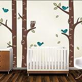 Nette Eule Vögel Große Birke Wandaufkleber Aufkleber Tapete Wandbild Kindergarten Baby Forest Home Hintergrund Dekoration 250 * 250 cm