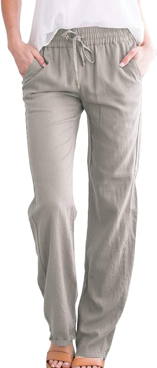 Jenkoon Women's Casual Ankle Pants Straight Leg Trousers Summer Beach Pants with Pockets