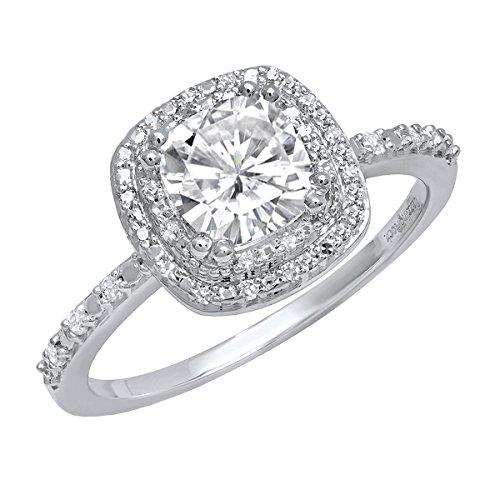 Dazzlingrock Collection Anillo de compromiso de oro blanco de 18 K 6 mm con piedras preciosas y diamantes redondos